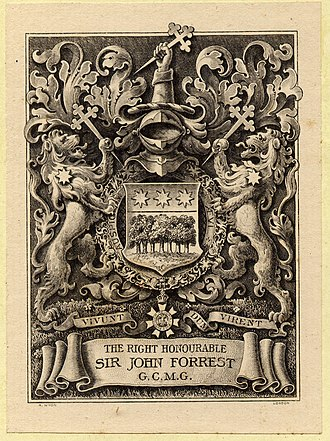 Allan Wyon - Bookplate for John Forrest, by Allan Wyon