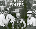 John Glenn With T.J. O'Malley and Paul Donnelly in Front of Friendship 7 (16297484778).jpg