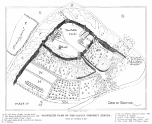 "Rougemont Gardens - The approximate area of Rougemont Gardens is shown as the regions marked ""D"" to the east of the road that leads to the castle in this plan by John Norden, dated 1617."
