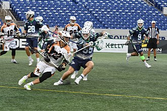Major League Lacrosse - Jordan Wolf dodging vs. Chesapeake Bayhawks in 2017.