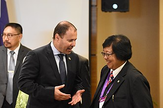 Josh Frydenberg - Frydenberg in April 2018 with Siti Nurbaya Bakar, Indonesia's Minister of Environment and Forestry