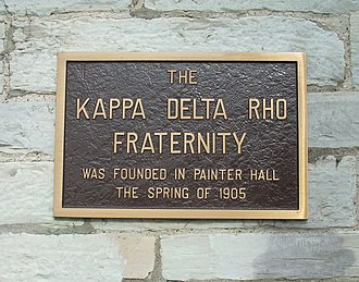 Kappa Delta Rho - A plaque on Painter Hall at Middlebury College commemorating the founding of Kappa Delta Rho within the building.