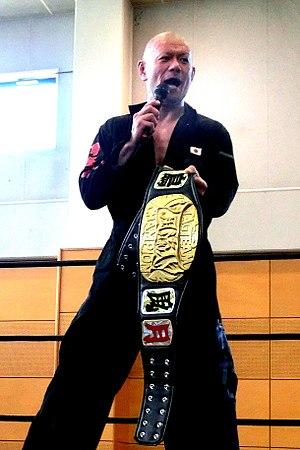 Kenichiro Arai - Arai as a Furyujin Tag Team Champion in August 2017