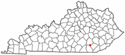 Location of Corbin, Kentucky