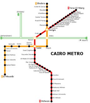 Действующие линии метро в Каире.  Была открыта в 1987 году, она соединяла две наземных линии с небольшим подземным...
