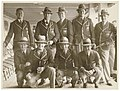 Kangaroos (Australia's national Rugby League team) on the deck of a ship in full team uniform, ca. 1935 - Sam Hood (10011341733).jpg