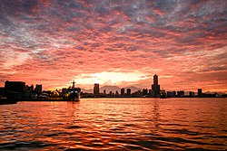 Kaohsiung harbor sunrise skyline.jpg