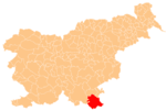 The location of the Municipality of Črnomelj