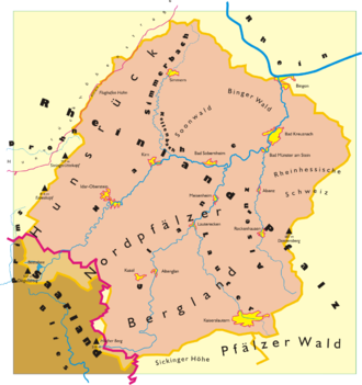 Nahe (river) - Drainage basin of the Nahe river and its tributaries