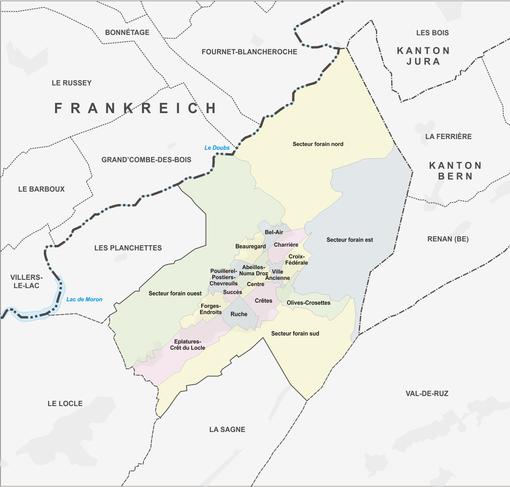 Quartiere von La Chaux-de-Fonds