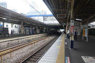 Kashiwa Station - The Joban Line (Rapid) platform 3 in July 2015