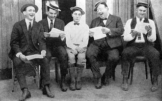 Buster Keaton - Keaton (center) in 1923, with (from left) writers Joe Mitchell, Clyde Bruckman, Jean Havez, and Eddie Cline