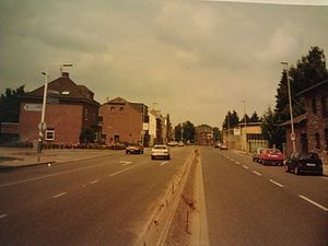 Kerkrade - Nieuwstraat/Neustraße in 1993. At left is the Dutch side, at right the German side.