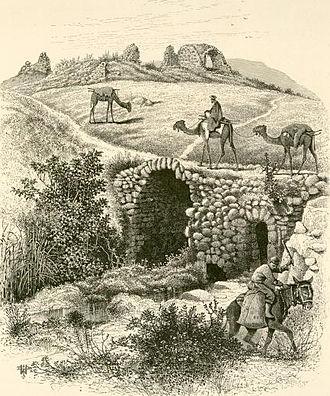 Lajjun - Drawing of the remains of the khan and  old bridge at Lajjun, 1870s