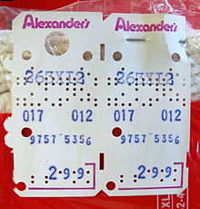 A Kimball tag pinned to a package of thermal underwear sold by Alexander's department store.