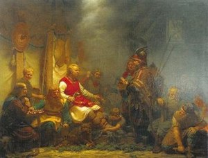 Tale of Ragnar's Sons - An 1857 painting by August Malmström depicting King Aella's messenger before Ragnar Lodbrok's sons.