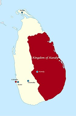 The Kingdom of Kandy at its greatest territorial extent, under the rule of Rajasinghe II (1635 AD to 1687 AD)