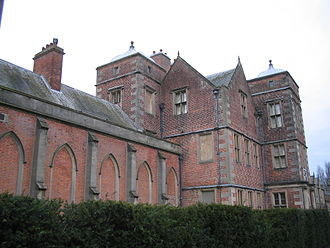 Kiplin Hall - Front of the hall showing the later library extension