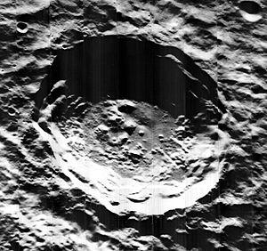 Kirkwood (crater) - Image taken by the Lunar Orbiter 5 (1967)