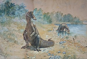 Hadrosaurs by a lake.
