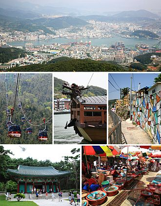 Tongyeong - Top: Hallyeo National Marine Park; middle left: Hallyeo Waterway Observation Cable Car; middle center: Turtle ship replica; middle right: Dongpirang Village; bottom left: Chungmusa shrineJungang; bottom right Live Fish Market.