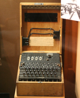 A four–rotor Kriegsmarine (German Navy, 1935 to 1945) Enigma machine on display at the US National Cryptologic Museum - Enigma machine