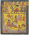 Krishna pulls Kansa from his throne, whirls him around, throws him into the sea (6125062118).jpg