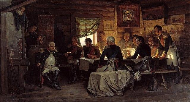 На картине А. Кившенко «Военный совет в Филях» горячий и решительный Ермолов стоит за столом в правой части картины.