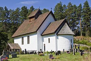 Paus family - Kviteseid Old Church, built ca. 1260, where Peder Paus is buried under the choir floor