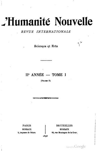 File:L'Humanité nouvelle, année 2, tome 1, volume 2.djvu