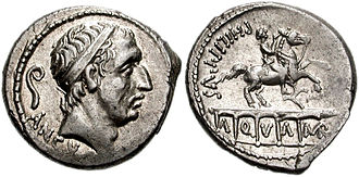 Marcia (gens) - Denarius of L. Marcius Philippus, minted in 56 BC. The obverse is a portrait of Ancus Marcius, the legendary 4th king of Rome and founder of the gens. The reverse depicts the Aqua Marcia, built by Q. Marcius Rex in 144 BC, who also had his statue on the aqueduc.