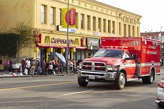 Westlake, Los Angeles - LAFD Rescue 11 on Alvarado Street, with sidewalk merchants in the background, 2015