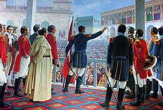History of Peru - José de San Martín's proclamation of the independence of Peru on July 28, 1821 in Lima, Peru. Painting by Juan Lepiani