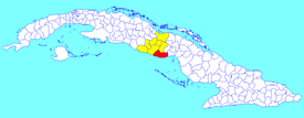 La Sierpe municipality (red) within Sancti Spíritus Province (yellow) and Cuba