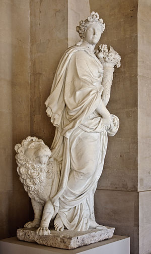 Earth (classical element) - Earth (1681) by Benoît Massou, a statue of the Grande Commande, with allegorical attributes inspired by Cesare Ripa's Iconologia.