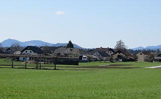 Lahovče Place in Upper Carniola, Slovenia