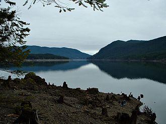 Lake Cushman - Lake Cushman with stumps showing changing water levels