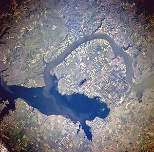Lake Sakakawea - from space, July 1996