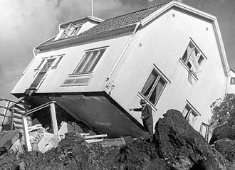 Landslide - The landslide at Surte in Sweden, 1950. It was a quick clay slide killing one person.