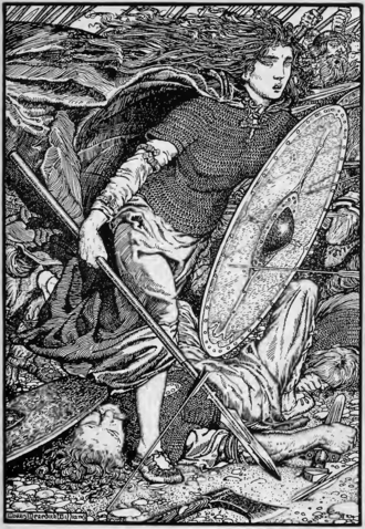 Lagertha - Lagertha, lithography by Morris Meredith Williams (1913)