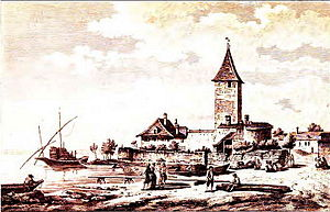 Château d'Ouchy - Harbour and castle, 1784.