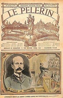 Primeira página do jornal Le Pelerin;  Há um retrato de Guyot de Villeneuve e um desenho de seu discurso na galeria da Câmara.