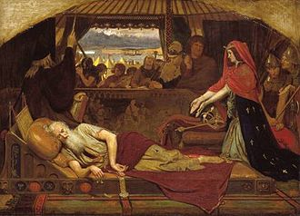 "Anagnorisis - ""Lear and Cordelia"" by Ford Madox Brown:  Lear, driven out by his older daughters and rescued by his youngest, realizes their true characters."