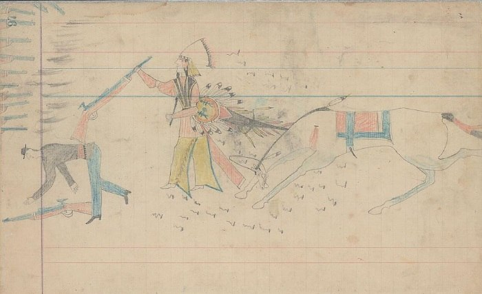 Ledger Drawing - Arapaho warrior and U.S Solddier - ca. 1880