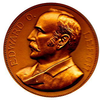 Columbian half dollar - Mint Director Edward O. Leech, on his Mint medal, by Charles E. Barber