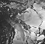 Lemon Creek Glacier, mountain glacier terminus, firn line and hanging glaciers with bergschrund, August 24, 1963 (GLACIERS 6376).jpg