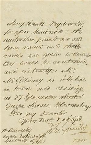 John Gould - Letter from John Gould to R. Denny regarding Australian plants