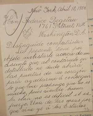 Isabel González - Letter written by Isabel Gonzalez to Federico Degetau in April 1904