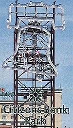 The Liberty Bell replica at Citizens Bank Park rings for every Phillies home run and victory.