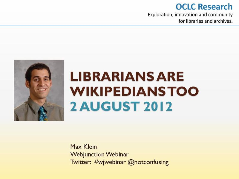 Librarians are Wikipedians Too